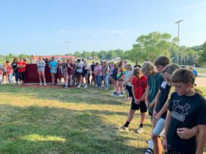 Family members, friends, school staff members and the community, in general, gathered outside Shenandoah High School Thursday night for a prayer vigil for Grace Johnson, a 17-year-old Shenandoah High School student injured in an accident the night before.