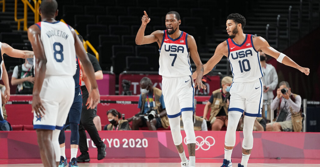 Kevin Durant and Jayson Tatum Lead Workforce U.S.A. in Scoring at Half