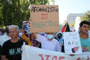 People from the local Afghan community demonstrate against the Taliban takeover of Afghanistan, at Syntagma square in Athens, Greece, August 28, 2021.