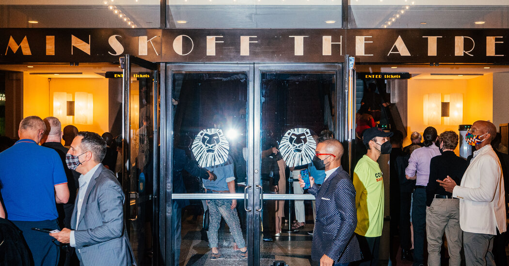 Crowds Gather as 'The Lion King' Reopens on Broadway